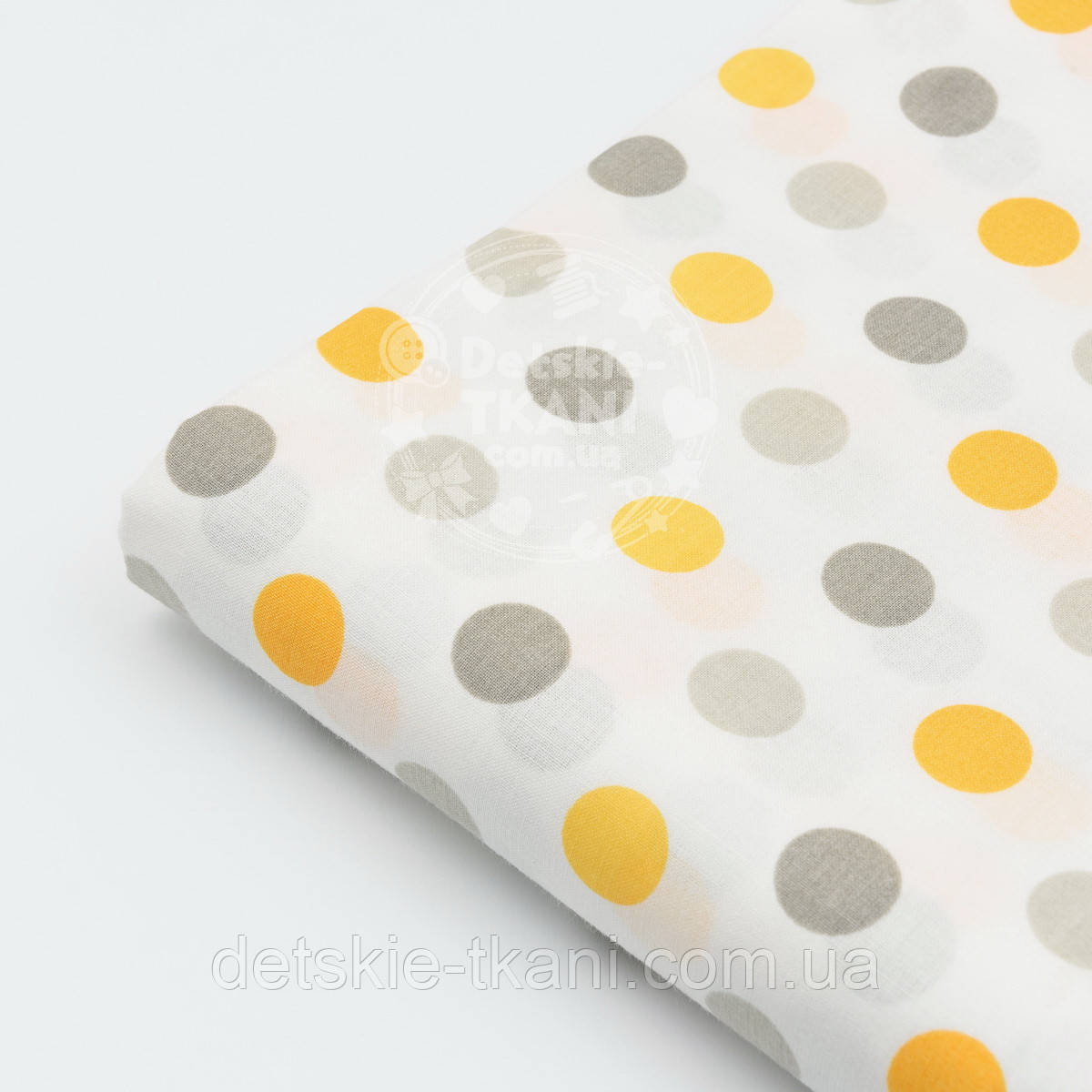 Отрез ткани №268а  с серыми и жёлтыми горохами, размер 60*160