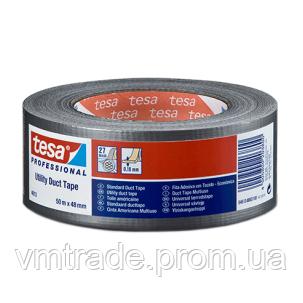 Клейкая тканевая лента Теса 50 м х 48 мм, серебристая (Tesa Standard 4613)
