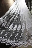 Тюль нарядная шенилловая вышивка Роза в купоне для гостиной, высота 3.15 м