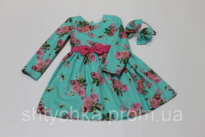"""Повседневно - нарядное платье на девочку """" Мятное в цветочек"""""""