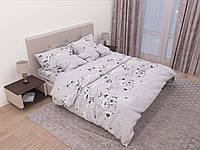 Двуспальный комплект постельного белья с евро простыней «Серый цветок» из бязи голд