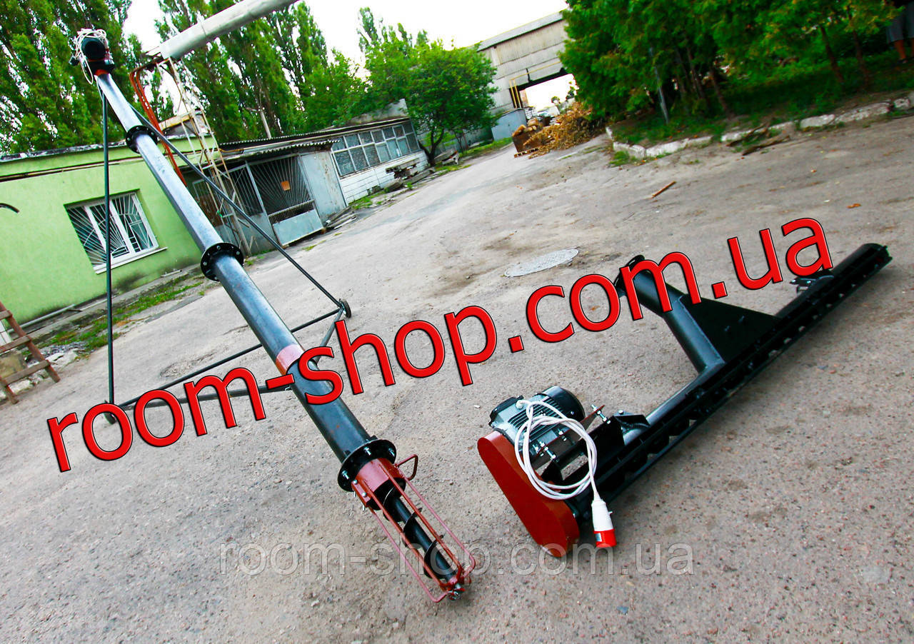 Шнековый перегрузчик (погрузчик) с подборщиком   диаметром 133 мм длиною 6 метров