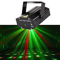 Лазерный проектор, стробоскоп, диско лазер UKC HJ08 4 в 1 c триногой Black