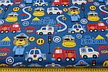 """Ткань хлопковая """"Мишка-регулировщик и спец транспорт"""" на синем (№2420а), фото 2"""