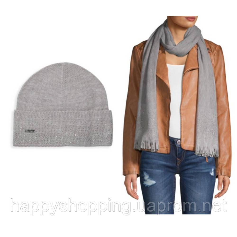Женский оригинальный  серый комплект со стразами (шапка+шарф) Calvin Klein