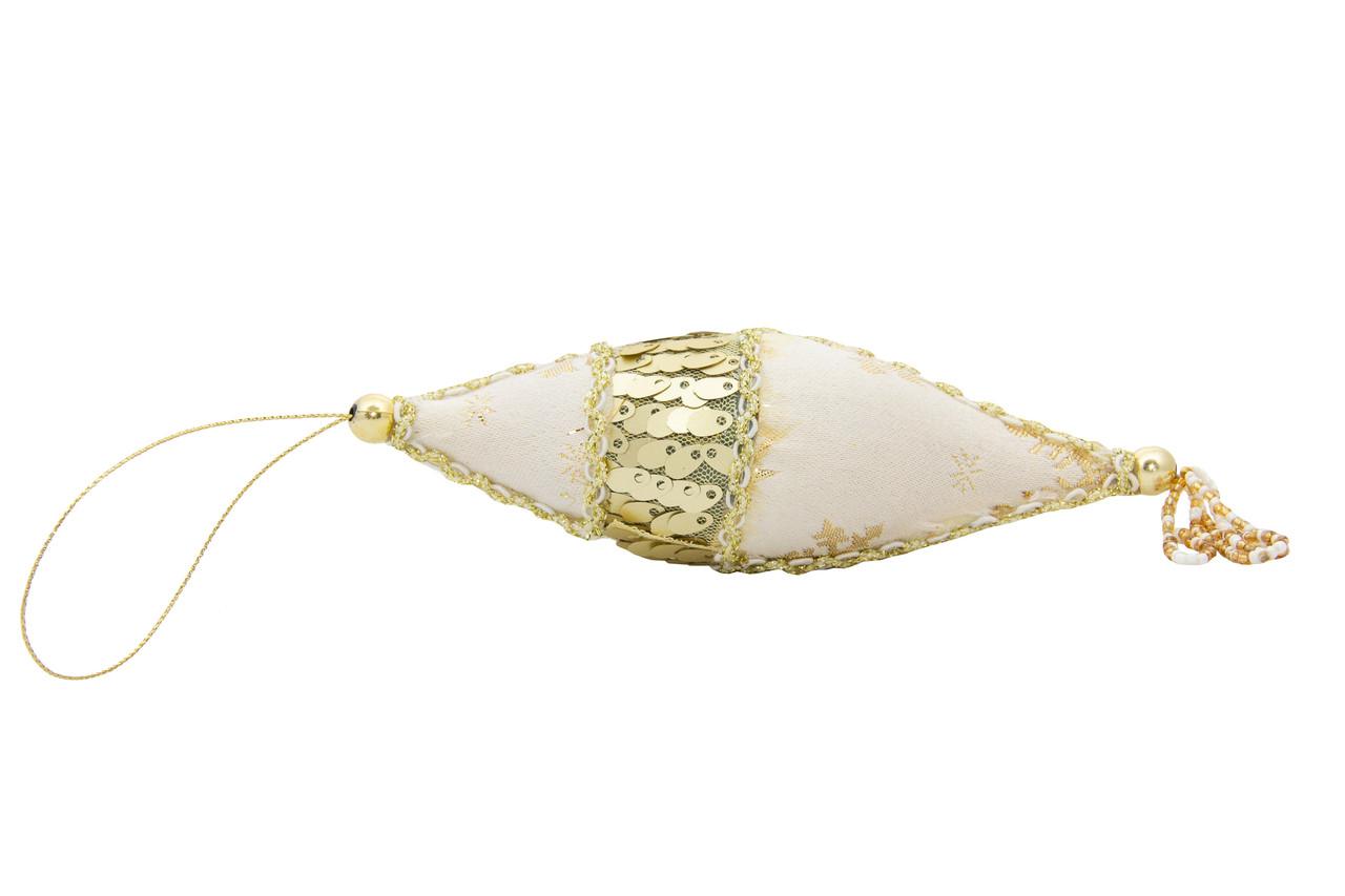Елочная игрушка из ткани с блестками, 10 см, сосулька (430208-3)