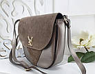 Женская сумка-клатч в цвете светлая бронза+мокко, структурная эко кожа+натуральный замш (под бренд), фото 3