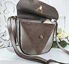 Женская сумка-клатч в цвете светлая бронза+мокко, структурная эко кожа+натуральный замш (под бренд), фото 6