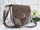 Женская сумка-клатч в цвете светлая бронза+мокко, структурная эко кожа+натуральный замш (под бренд), фото 7