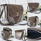 Женская сумка-клатч в цвете светлая бронза+мокко, структурная эко кожа+натуральный замш (под бренд), фото 8