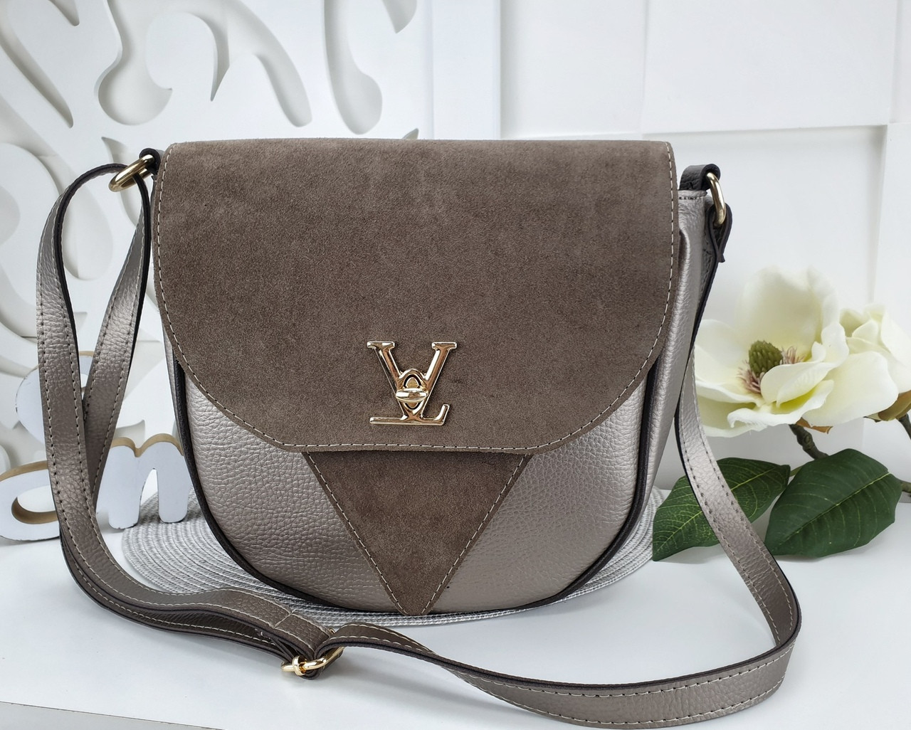 Женская сумка-клатч в цвете светлая бронза+мокко, структурная эко кожа+натуральный замш (под бренд)