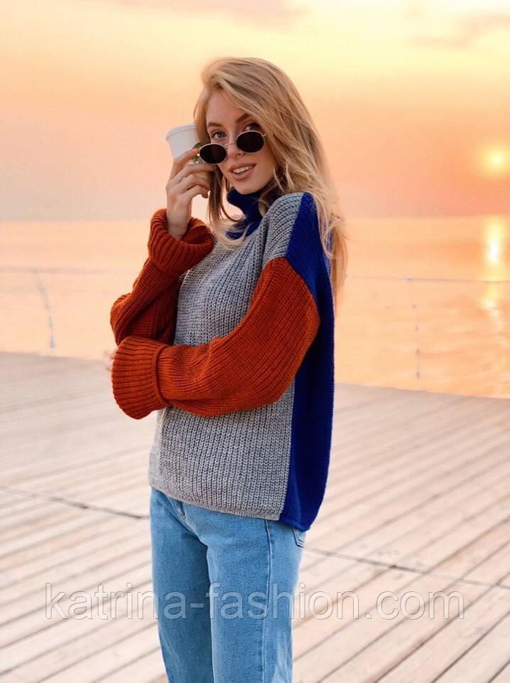 Стильный комбинированный  свитер  (в расцветках)
