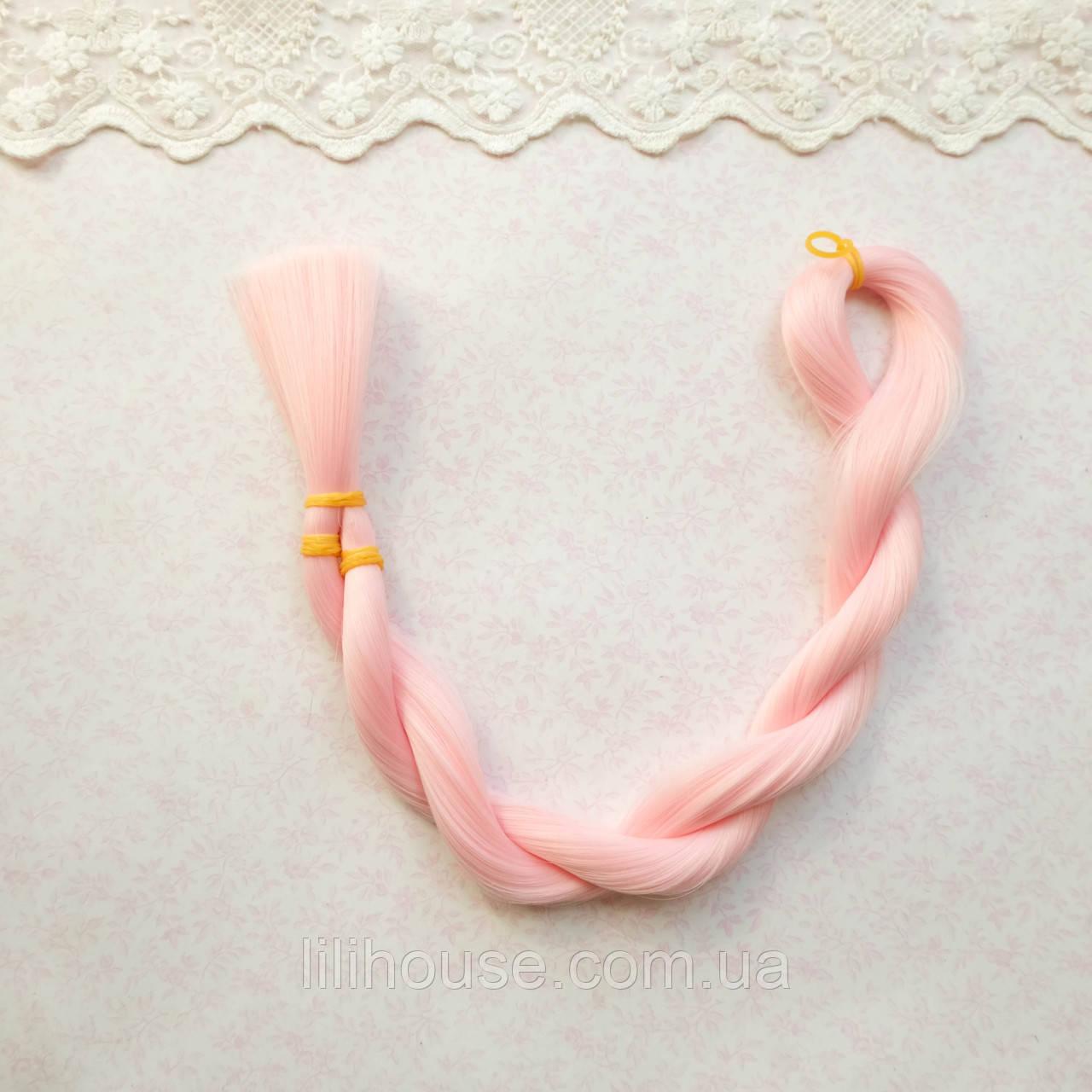 Волосы для кукол для перепрошивки,теплый розовый, шелк  80 см,   50 гр