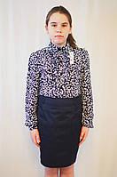 Модная качественная блуза для девочки с воротником, рюшами и  длинным рукавом
