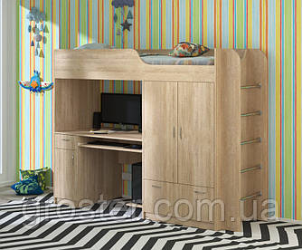 Детская кровать-чердак со шкафом и столом Дуэт-1