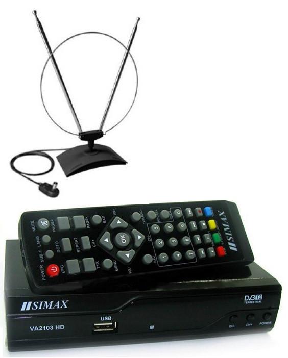 Комплект - комнатная антенна + Т2 тюнер(ресивер)