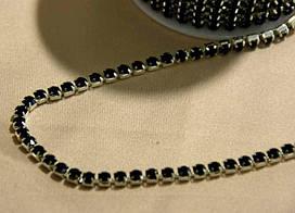 Камни в оправе SS16 черные в серебрянной оправе