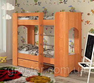 Дитяча двох'ярусна ліжко з шухлядою для білизни Дует-2