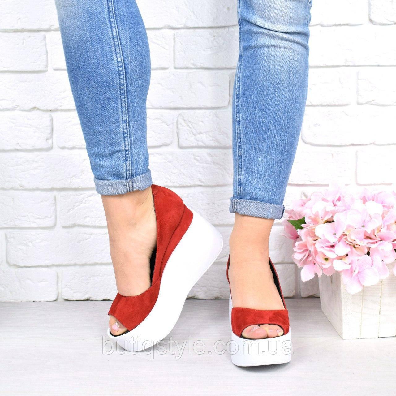 38 размер Женские красные туфли на белой платформе с открытым носком натуральный замш