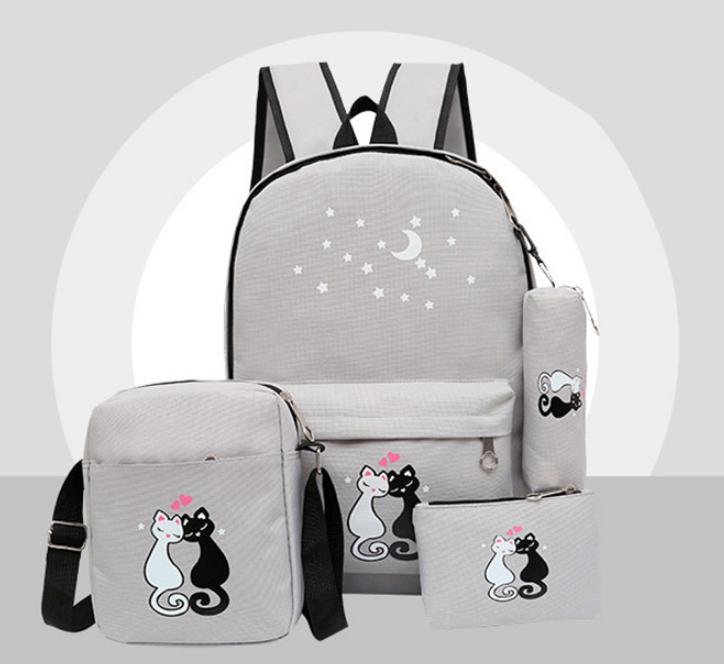 Набор Коты Рюкзак 4 + брелочек в подарок. Модный Школьный городской. Серый Кошки