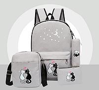 Набор Коты Рюкзак 4 + брелочек в подарок. Модный Школьный городской. Серый Кошки, фото 1