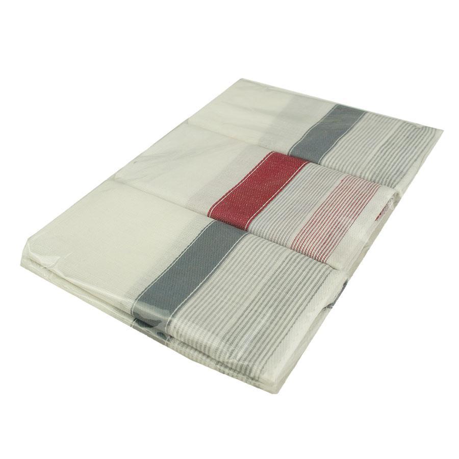 Набор мужских белых носовых платков с полосками EGA 3 шт CH-727/3 С