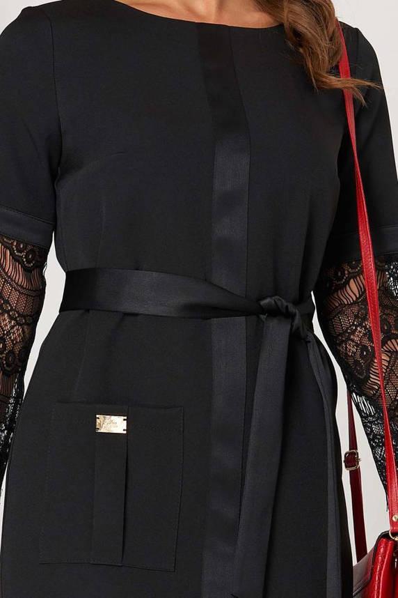 Черное нарядное платье миди с гипюром, фото 2