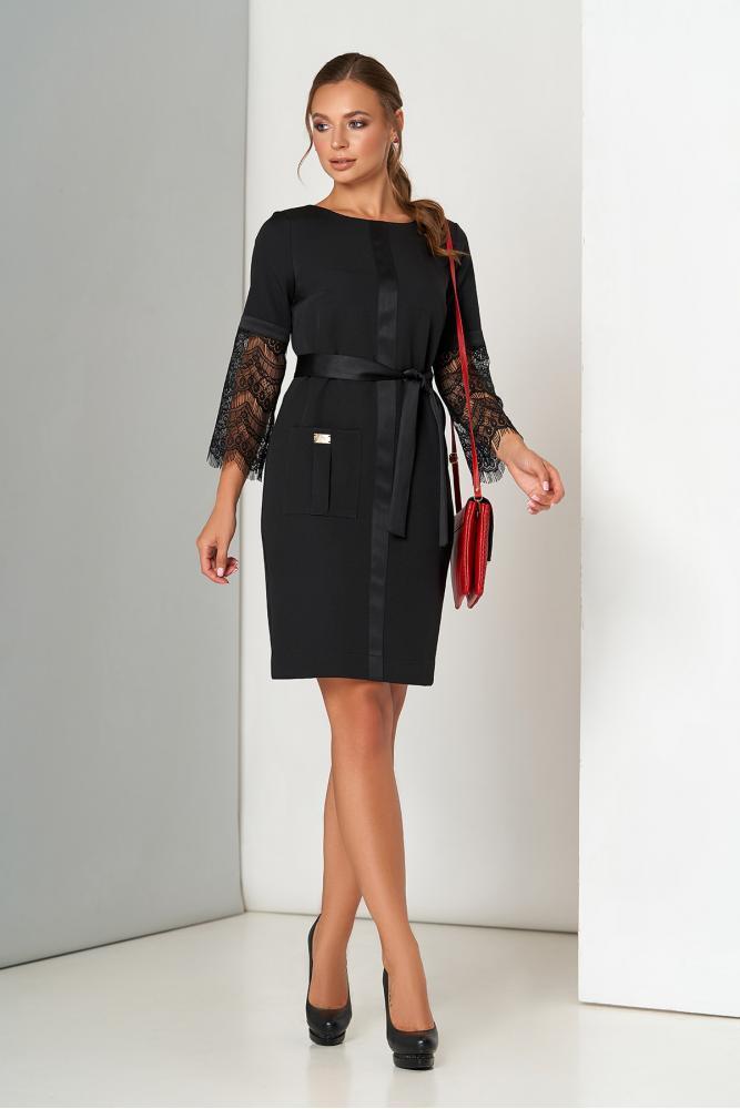 Черное нарядное платье миди с гипюром