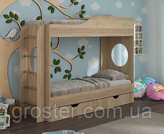 Детская двухъярусная кровать с ящиками для белья Тандем