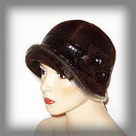 Женская шапка из замши (бордо)