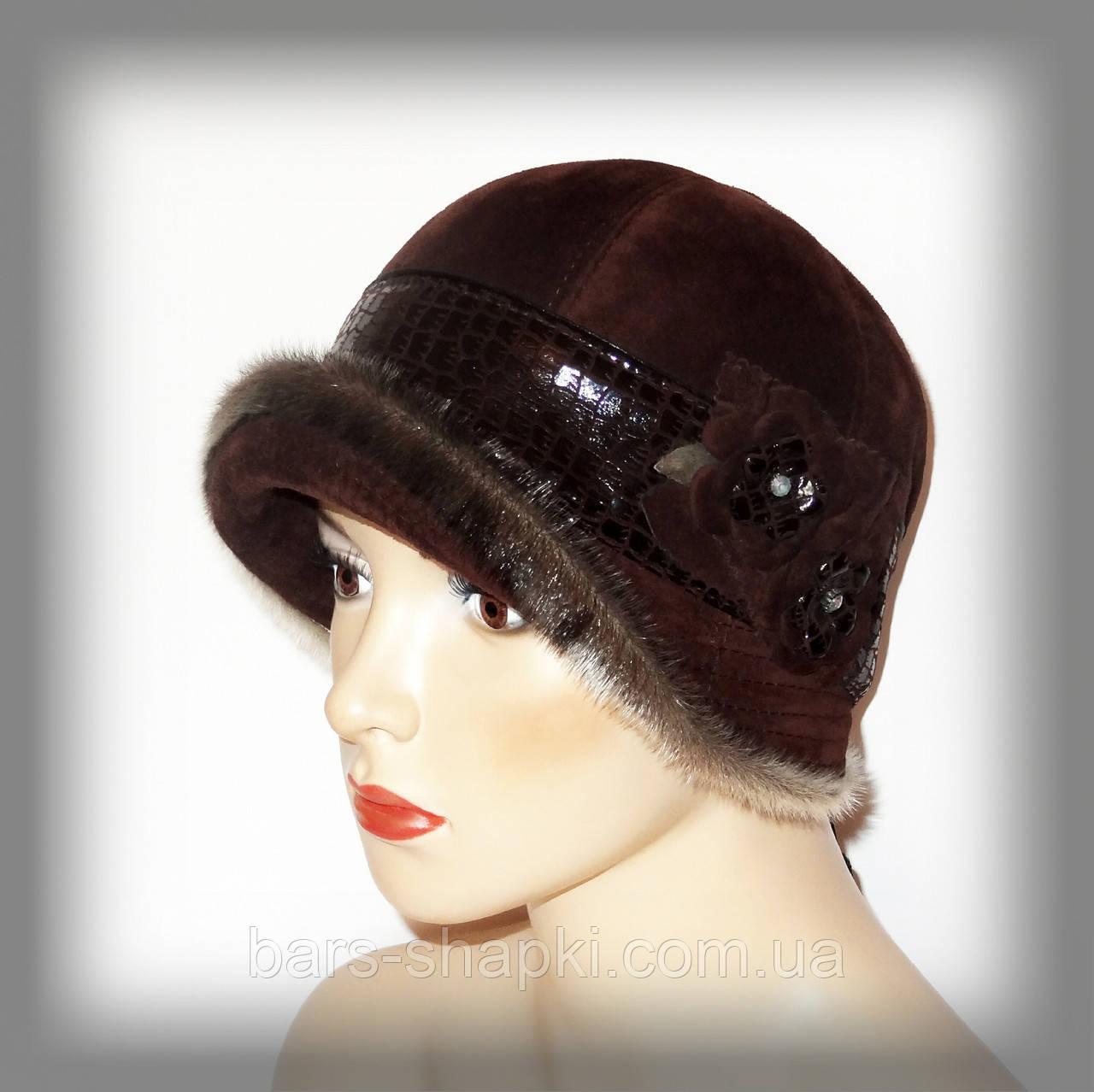 3b172896b980 Женская шапка из замши (бордо)