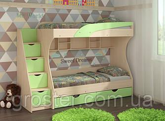 Детская двухъярусная кровать с ящиками для белья Кадет (МДФ)