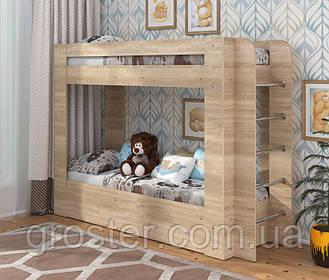 Дитяча двох'ярусна ліжко з шухлядою для білизни Олімп