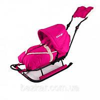 Комплект санки детские с конвертом и капюшоном Adbor Piccolino Black Edition deLux, цвет розовый