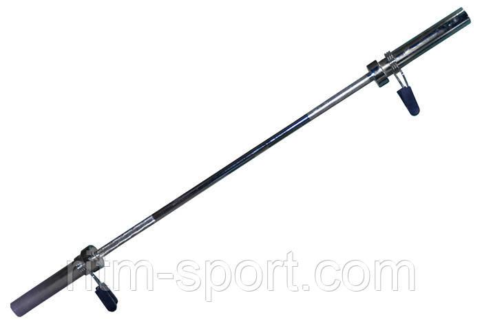 Гриф для штанги Олимпийский прямой  (l-1,8 м, рук.d-50 мм, гр.d-28 мм, вес 13 кг, замок пружин)