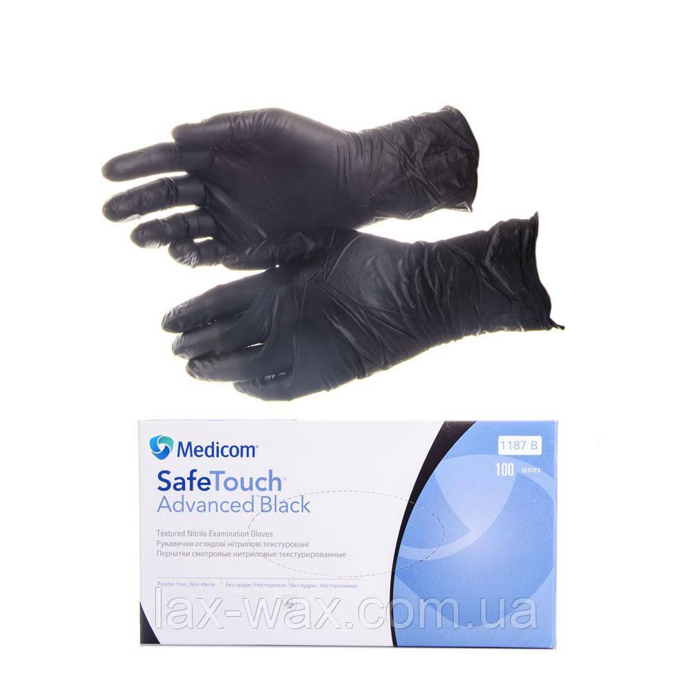 Перчатки нитриловые Medicom SafeTouch (чёрные) (S)