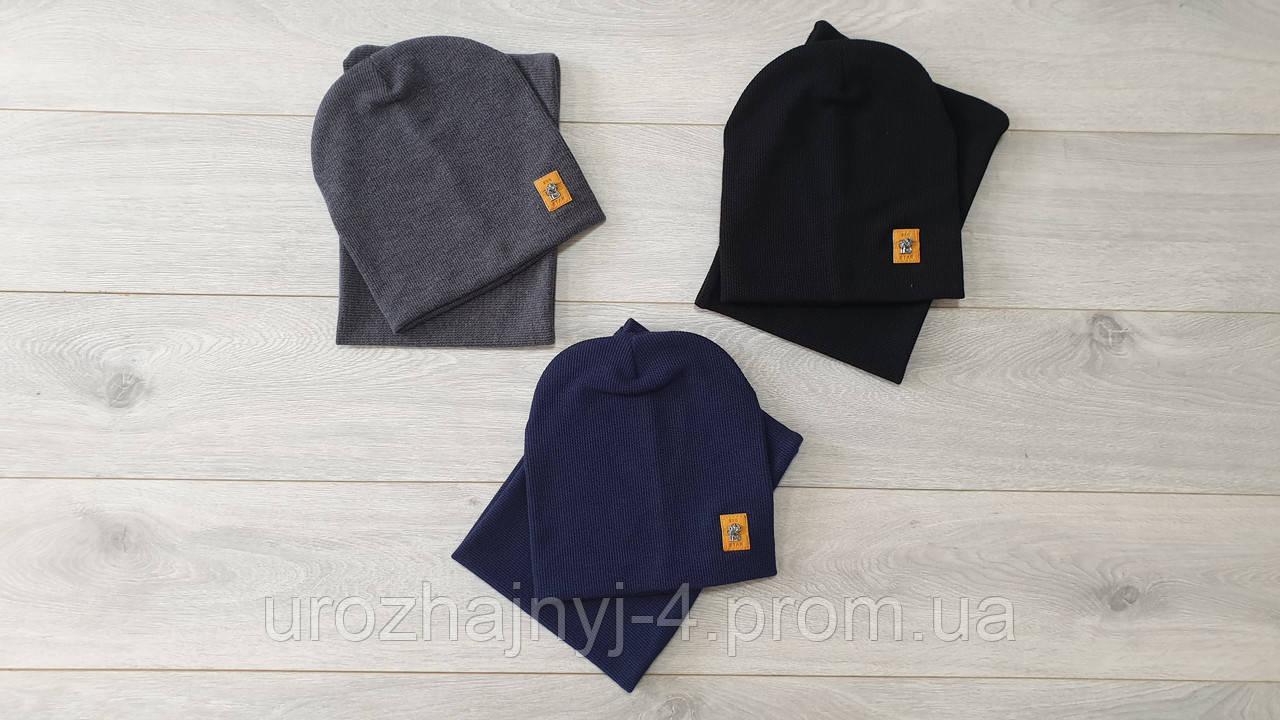 Трикотажный комплект шапка и хомут подкладка х/б р50-52