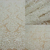 Мереживна тканина розшита 10159A-12L ivory, м