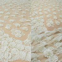 Мереживна тканина розшита 10346A ivory, м