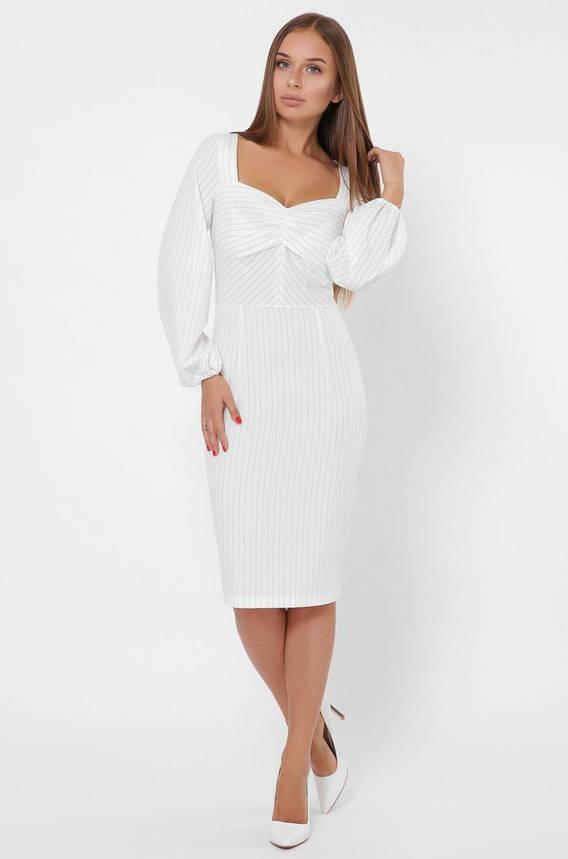 Облегающее белое платье-футляр в деловом стиле, фото 2