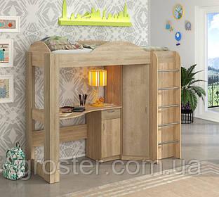 Детская кровать-чердак со шкафом и столом Орбита