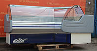 Холодильная угловая среднетемпературная витрина «Cold» 2.5 м. (Польша), очень широкая выкладка 80 см., Б/у, фото 1