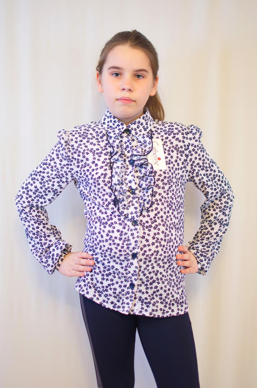 Нарядная дешевая блуза для девочки с отложным воротником, рюшами и  длинным рукавом