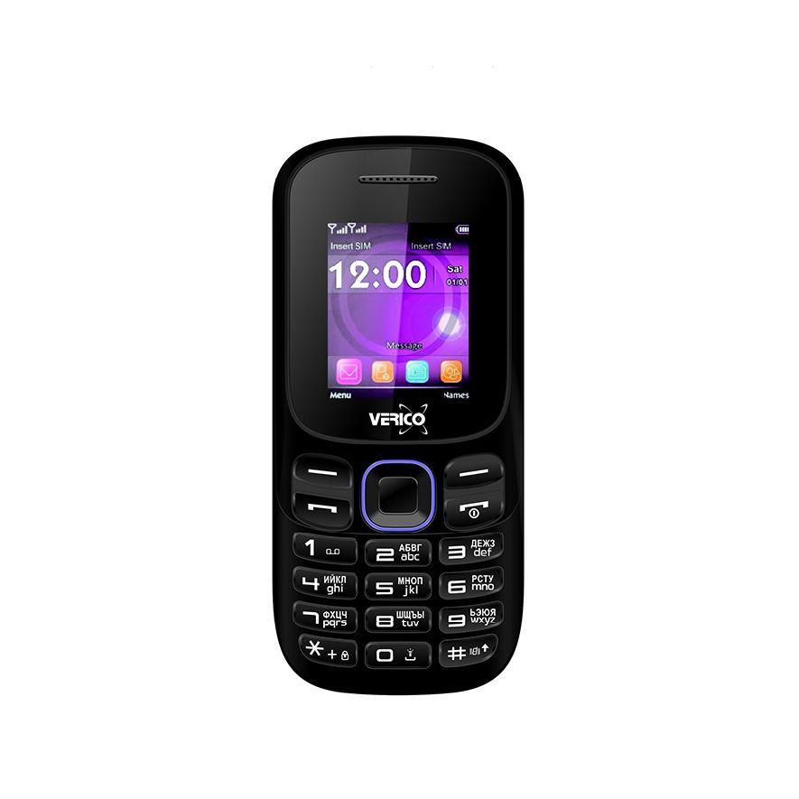 Мобильный кнопочный телефон на 2 сим карты Verico A182 черно-фиолетовый