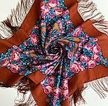 Ночь светла 1837-16, павлопосадский платок шерстяной  с шелковой бахромой, фото 7