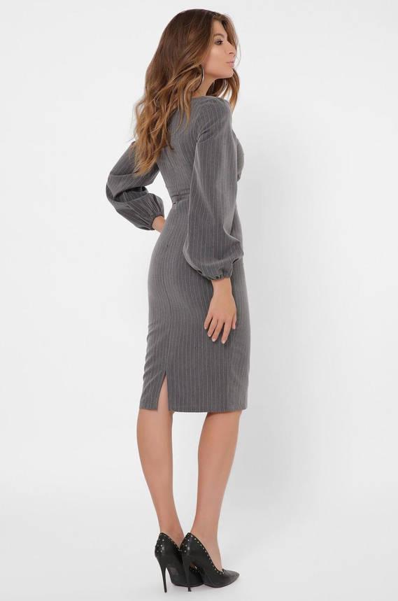 Облегающее платье-футляр в деловом стиле серого цвета, фото 2