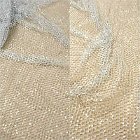 Кружевная ткань расшитая пайеткой 15 пайетка серебро, м
