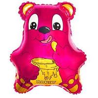 Фольгированный шар Медведь с бочонком меда 56 х 47см Малиновый