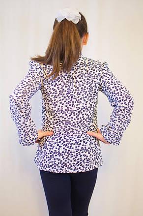Нарядная дешевая блуза для девочки с отложным воротником, рюшами и  длинным рукавом , фото 2