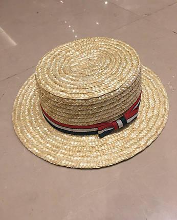 """Соломенная женская шляпа-канотье """"BALI"""" с лентой, фото 2"""